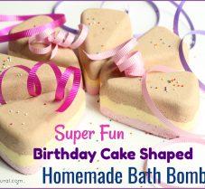 Homemade Bath Bombs in a Fun Birthday Cake Shape