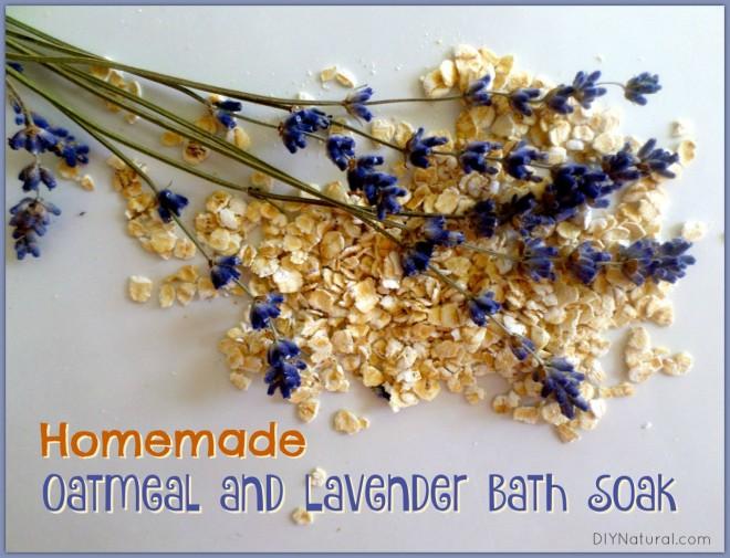 Homemade Oatmeal Lavender Bath Soak for Dry Skin